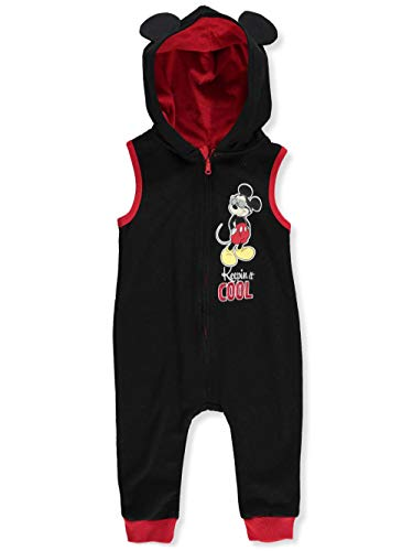 (Disney Mickey Mouse Baby Boys' Hooded Coverall - Black/red, 12 Months)