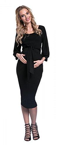 Happy Mama. Mujer Midi Vestido en Capas Premamá Lactancia Cuello Redondo. 604p Negro