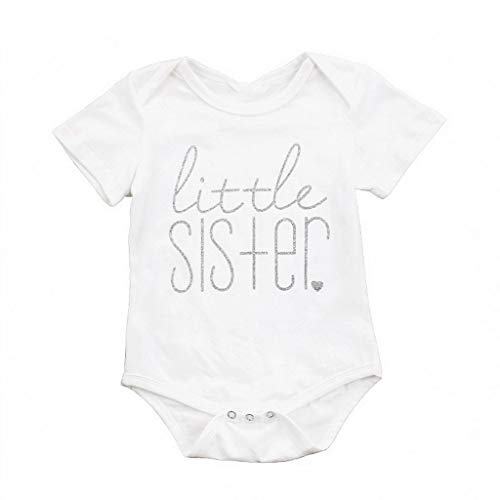 Lovely Cute Fashion Baby Girls Rompers New Summer Cute Letter Newborn Jumpsuit Romper Litter Sister Big Brother Baby Clothes 3T