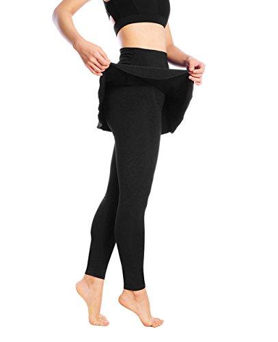 Skirted Leggings - Women's Running Skirts Casual Gym Tennis Skort with Leggings