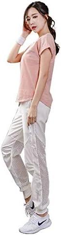 レディースジャージ上下セット レディースカジュアルスポーツウェアセットフィットネストップスロングパンツ (Color : Pink, Size : S)