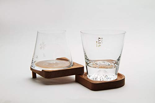 Mars Planning [Premium Gift Set] Tajima Glass Mount Fuji Base Fujisan Glass Set Fuji Glass / Fujisan Hoei Glass (Clear) / With Wooden Coaster by Mars (Image #1)