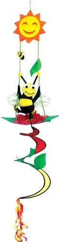 Two Group Flags Sunshine Honey Bumble Bee Swinging on a Flower - Bright & Coloful Twister - Spinner - Windsock Hanging Garden Decorative Scuplture Decor 46 Inches Tall ()