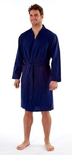 Hombre Batas De Casa Liso Ligero De Verano con gris Antifaz - sintético, Azul Marino, 35% algodón 65% poliéster, hombre, Medium: Amazon.es: Ropa y ...