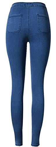 Mujeres Especial Pantalones Estiramiento Color2 Elástico Fit De Bobolily Cint Vaqueros Las Slim 4aqq7U