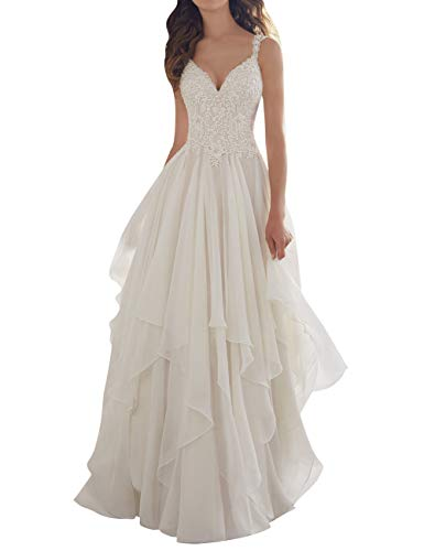 JAEDEN Wedding Dress Lace Bridal Dresses Beach Ruffles A line Wedding Gown with Straps Ivory