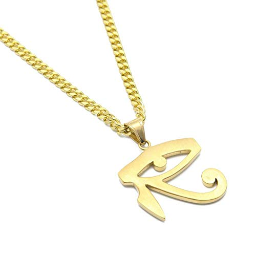 Geetobby Womens Stainless Steel Necklaces The Eye of Horus Amulet Initial Letters Pendant Necklace