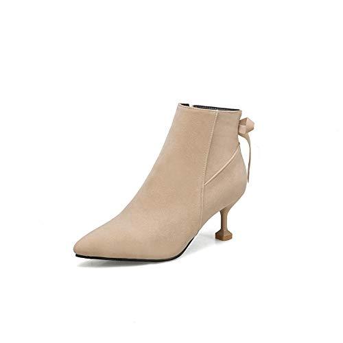 Beige A Con Boots Punta Appuntita Stivaletti Alti Donna Tacchi Da Women's xFS0wnvqHw