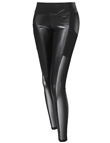 Made by Emma Solid Faux Leather Mesh Panel Side Pockets Leggings Black ()