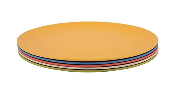 Rounds Collection | Shatter-Proof and Chip-Resistant Bamboo Dinner Plates Melange 6-Piece Bamboo Dinner Plate Set Color: Multicolor 608410090620