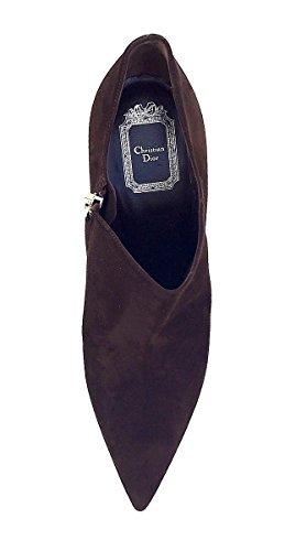 Dior Christian Songe Kvinners Mørkebrun Semsket Størrelse 40 Ankelsokker