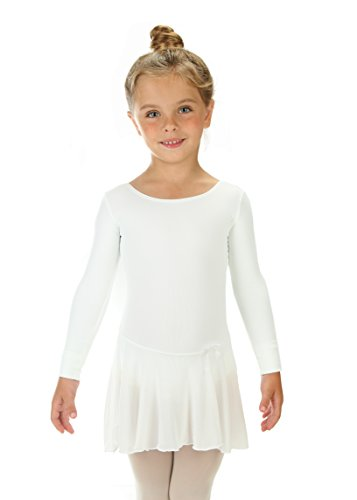 Elowel Girls' Ruffle Long Sleeve Skirted Leotard White (size-12-14)]()