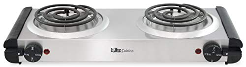 Elite Cuisine Electric Double Coil Burner Hot Plate, Stainless Steel