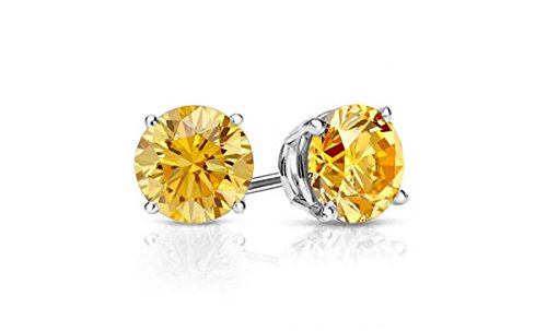(Cate & Chloe 2CT. TW. Beyonce Gemstone Silver Stud Earrings, Large Round Brilliant Crystal Silver Studs Earring Sets for Women, Womens Rhinestone Fashion Statement Jewelry - (Citrine))
