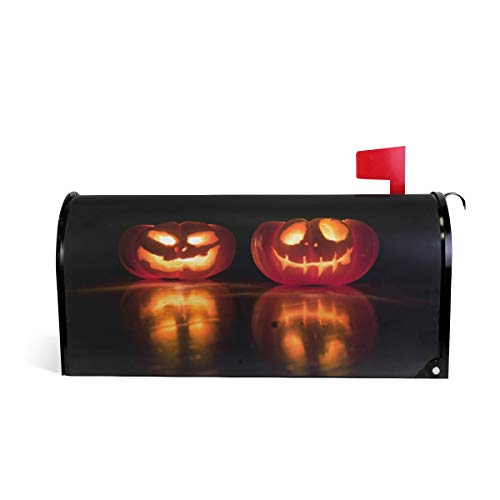 (Mr.Lucien Halloween Pumpkin Lights with Candle Orange Night View Magnetic Mailbox Cover Standard Size-18