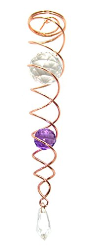 """14"""" Crystal Twister Copper Wire Purple Orb Gazing Ball Spiral Tail Cyclone Wind Spinner Illusion Stabilizing Accessory (14"""" Inch with 3.75"""" Inch Swivel Hook)"""
