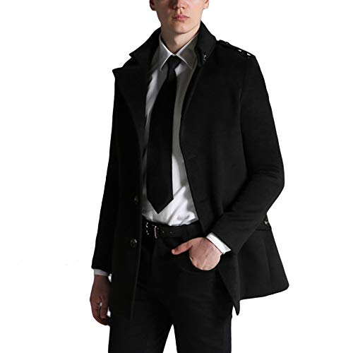 Great MERRYHE Outerwear Jacket Warm Mens Black Fashion Single Winter Coats Breasted Coats Blend Overcoat Trench Lapel qq4x6YE