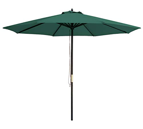 SUNBRANO 9 Ft Wood Frame Patio Umbrella Outdoor Garden Cafe Market Table Umbrella Pulley Lift with Air Vent, 8 Ribs, Green
