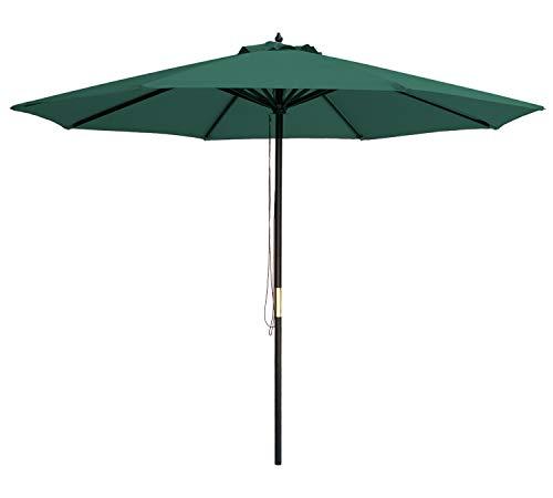 SUNBRANO 9 Ft Wood Frame Patio Umbrella Outdoor Garden Cafe Market Table Umbrella Pulley Lift with Air Vent, 8 Ribs, (9' Diameter Market Umbrella)