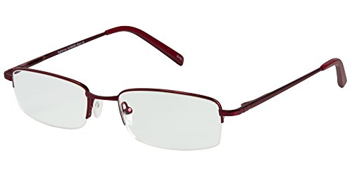 SightLine Multifocal Computer Reading Glasses 6000 Semi-Rimless Designer Frames (3.00, Red)
