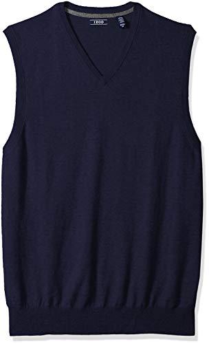 IZOD Men's Big and Tall Premium Essentials Solid V-Neck 12 Gauge Sweater Vest, New Peacoat, 3X-Large