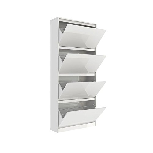 Tvilum 71007uuuu Bright 4 Drawer Shoe Cabinet, White High Gloss Furniture Four Drawer