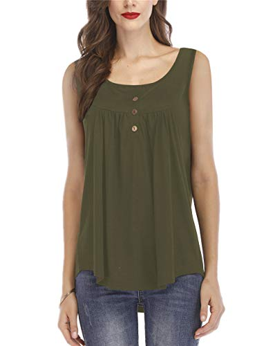 Women's Casual Summer Blouse Pleat Sleeveless Button Plain Tunic Tops Army Green S