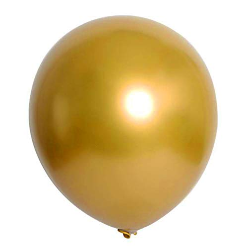 youeneom Party Balloons 12 Inches Rainbow Set 50 Pcs Assorted Colored Balloons Bulk Made Strong Latex Helium or Air Use 6 Colors for Party Birthday or Arch Decorations (Chrome Gold)]()