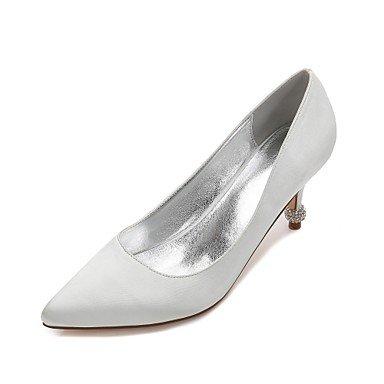 Confort Shoes Heelivory Satin De EU40 Boda Bowknot Champán Verano Las amp;Amp; Azul Mujeres'S Plana Vestido Rhinestone UK7 Noche Wedding Rubí Primavera US9 CN41 EtqSSF4w