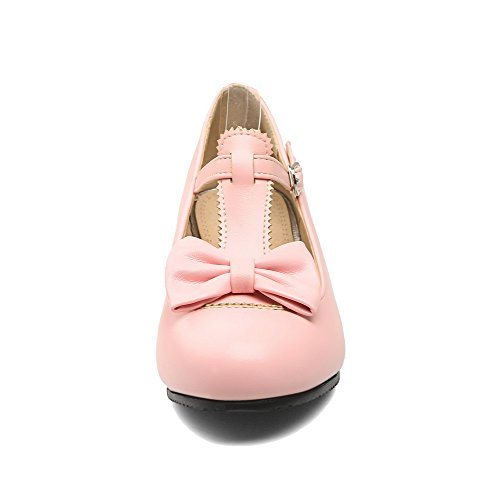 Shoes Round PU WeenFashion Pumps 44 Women's Pink Buckle Solid Toe Heels Low wqqzCE5