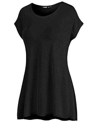 Thanth Womens Women's Long Kimono Sleeve Loose-fit Tunic Plus-size Black X-Large