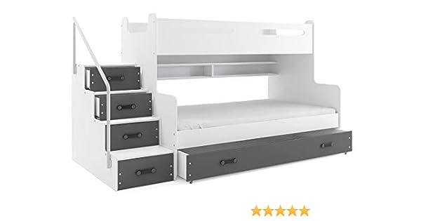 Cama litera triple MAX 3 (para tres niños) 200x80 y 200x120m , COLOR BLANCO- gris, todo includo! PRECIO MAS BAJO!…: Amazon.es: Hogar
