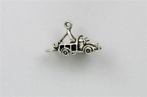Sterling Silver 3-D Tow Truck Charm - Jewelry Accessories Key Chain Bracelet Necklace -