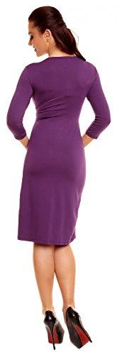 Zeta Ville Moda - De Las Mujeres - Envolver V-cuello Plisado Vestido - 3/4 Mangas - 001z Púrpura