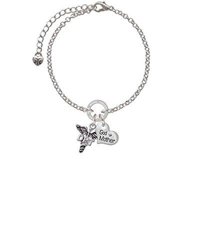 DPT Godmother You Are Loved Circle Bracelet Silvertone Caduceus 8