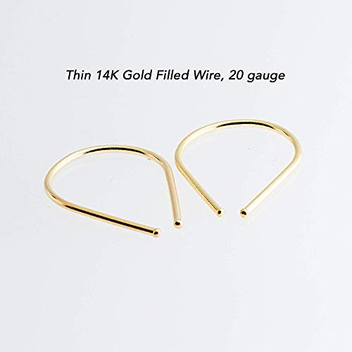 Thin 14K Yellow Gold Filled Wire Earings 20 Gauge Hook Drop Arc Set Earrings