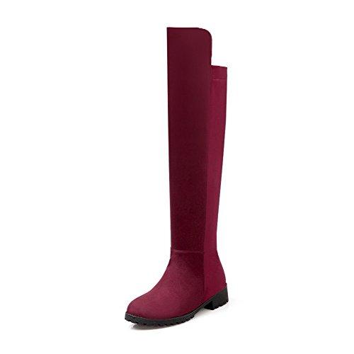 AllhqFashion Mujeres Sin cordones Puntera Redonda Mini Tacón Caña Alta Botas con Pespunte Rojo