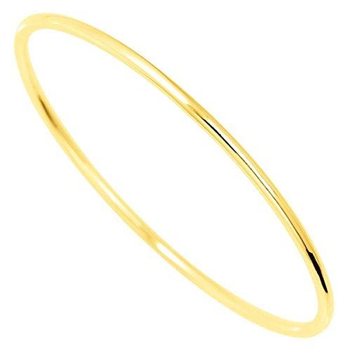 Orleo - REF7485BB : Bracelet rigide Femme Or 18K jaune - Jonc Fil Rond Massif 65 mm x 1.7 mm