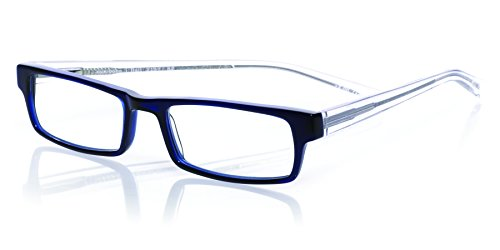 eyebobs I Ball, Navy Blue and Clear, Rectangular Reading Glasses SUPERIOR QUALITY- The best $79 you will ever spend