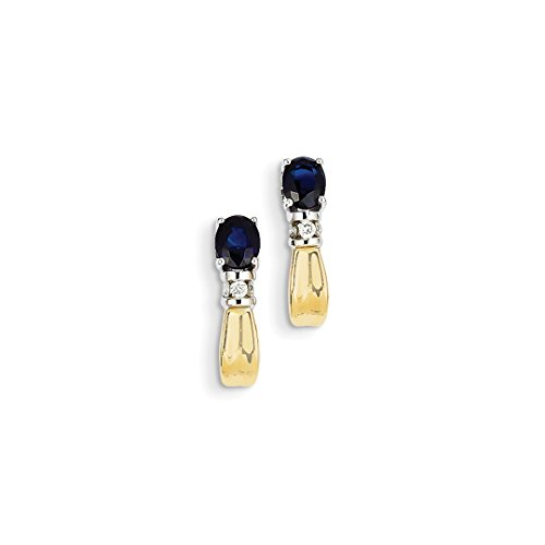 ICE CARATS 14kt Two Tone Yellow Gold Diamond Sapphire J Hoop Post Stud Earrings Drop Dangle Fine Jewelry Ideal Gifts For Women Gift Set From Heart 14kt 2 Tone Diamond Earrings