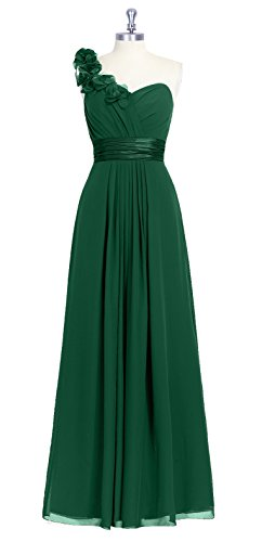 DianSheng Women's One Shoulder flowers Long Prom Dress with Flowers Dark Green US6 (Long Dress Prom Dark)