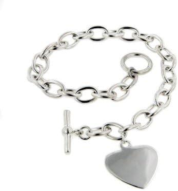 925 Sterling Silver Rolo Heart charm  Handmade bracelet.