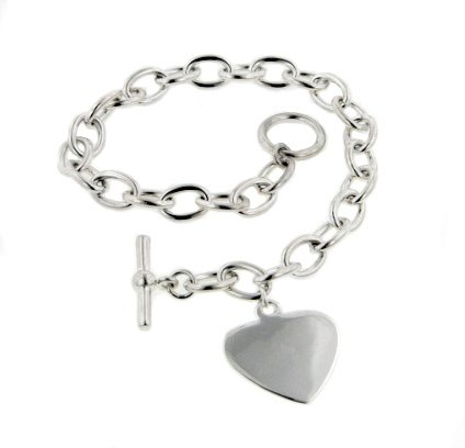 Sterling Silver Small Heart Charm Toggle Rolo Bracelet - (6mm Toggle Clasp Charm Bracelet)