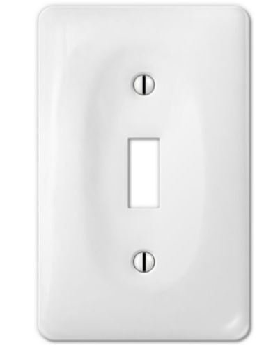 (Porcelain Decorative Switch plate, Wall plate, Cover, Rectangular White, 3002 (Single Toggle-3002T))