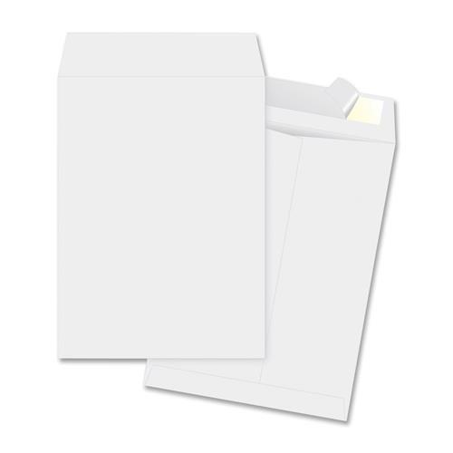 65770 Business Source Open-end Envelope - Catalog - #10 1/2 (9'' x 12'') - Peel & Seal - Tyvek - 100/Box - White