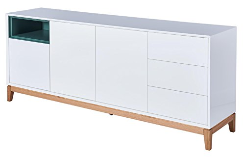 CAGUSTO® Sideboard HEGRA, weiß Hochglanz Holz Eiche massiv, 199 x 45 ...