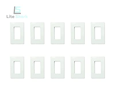 Screwless Decorator Wall Plate Switch Kit Child Safe Outlet Cover for Paddle Rocker Dimmer Light Timer GFCI Faceplate, 1-Gang, Standard Size Fits All Durable PC Material White 10 PACK by LiteShark