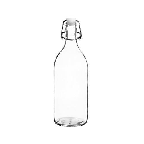Swing Vase - Colorful Reusable Glass Water Bottles With Swing Top Leakproof Cap, 1L / 34oz, Flowersea Glasss Water Bottle for Oil, Vinegar, Beverages, Beer, Water, Kombucha, Kefir, Soda (Clear, Round)