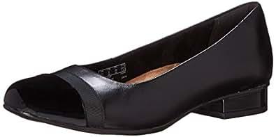 CLARKS Women's Keesha Rosa Pump, Black Leather, 5 Medium US