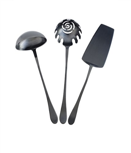 Knork Titanium Black Coated Stainless Hostess Set, 3 Piece, Matte